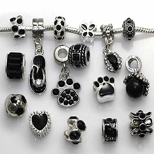 Ten (10) of Assorted Shades of Rhinestone Beads (Styles You Will Receive Are Shown in Picture Random 10 Beads Mix) Charms Spacers for Bracelets Fits Pandora, Biagi, Troll, Chamilla and - In Shades Style