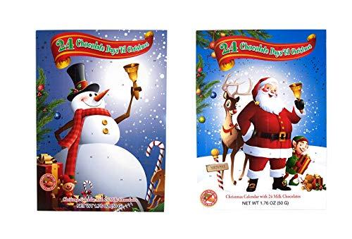 [해외]Needzo Assorted 2019 Santa Claus and Snowman Christmas Design Chocolate Advent Calendars 1.76 Ounce Pack of 2 / Needzo Assorted 2019 Santa Claus and Snowman Christmas Design Chocolate Advent Calendars, 1.76 Ounce, Pack of 2