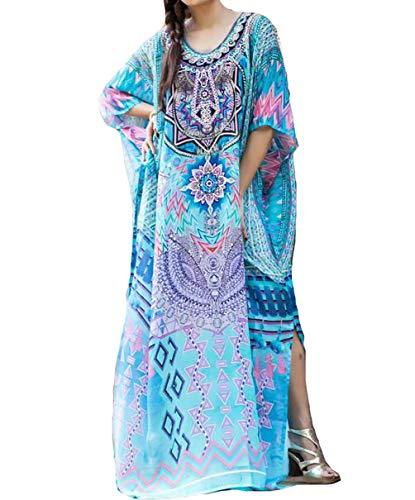- MeiLing Women's Print Kaftan Nightgown Long Caftans Beach Maxi Dress Bikini Swimsuit Bathing Suit Cover Up Swimwear (Blue G)