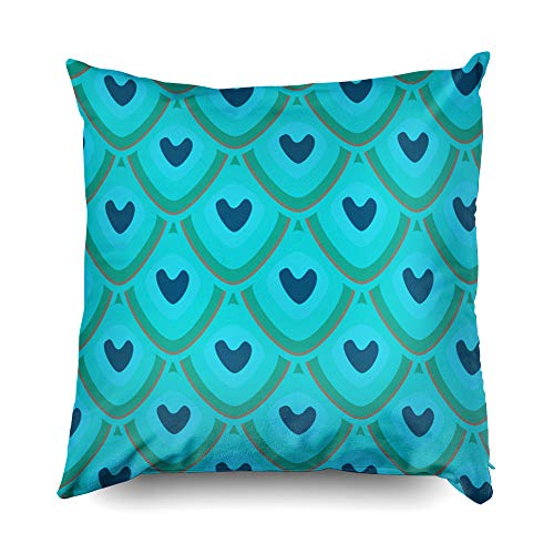 - Shorping Christmas Zippered Pillow Covers Pillowcases 20X20 Inch Peacock Feathers Abstract Pattern in Blue Brown Green Decorative Throw Pillow Cover,Pillow Cases Cushion Cover for Home Sofa Bedding