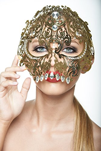(Skull Full Face Metal Filigree Masquerade Halloween Mask (Gold with Clear Rhinestones))