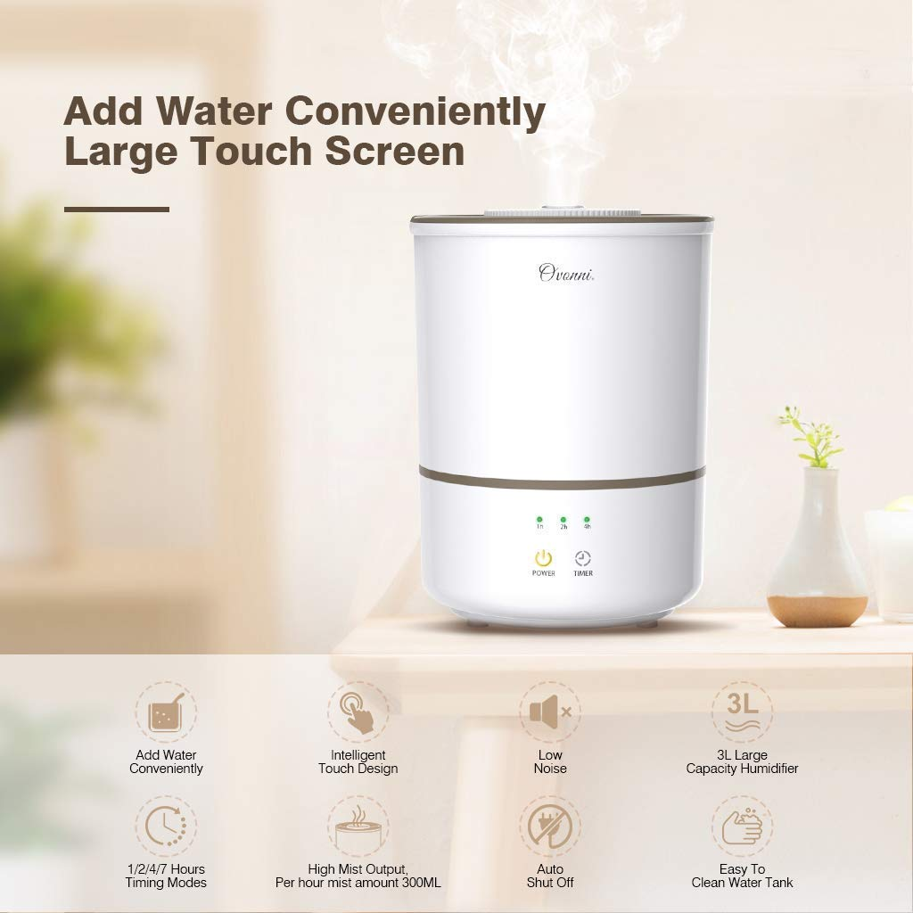 Large Capacity 3L Humidifiers Vaporizer with Whisper-Quiet/&Auto Shut-Off Protection,Air Humidifying 300ml//h Max Adjustable Mist for Home Baby Bedroom Office Ovonni Ultrasonic Cool Mist Humidifier