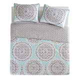 Bedding Sets Twin & Twin Xl - Quilt/Coverlet Set - 2 Pieces - Blue/Aqua/Grey - Printed Medallions Pattern - Lightweight Twin Size Bedding Sets For Girls - Bedspread Fit Twin & Twin Xl - Adele