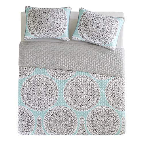 Comfort Spaces Adele 2 Piece Quilt Coverlet Bedspread Lightweight Printed Medallions Pattern Girls Room Bedding Set, Twin/Twin XL, Aqua (Coverlets Aqua Quilts)