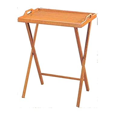 Essential Home Oak Finish Folding Tv Tray Table / Snack Drinking Portable Desk