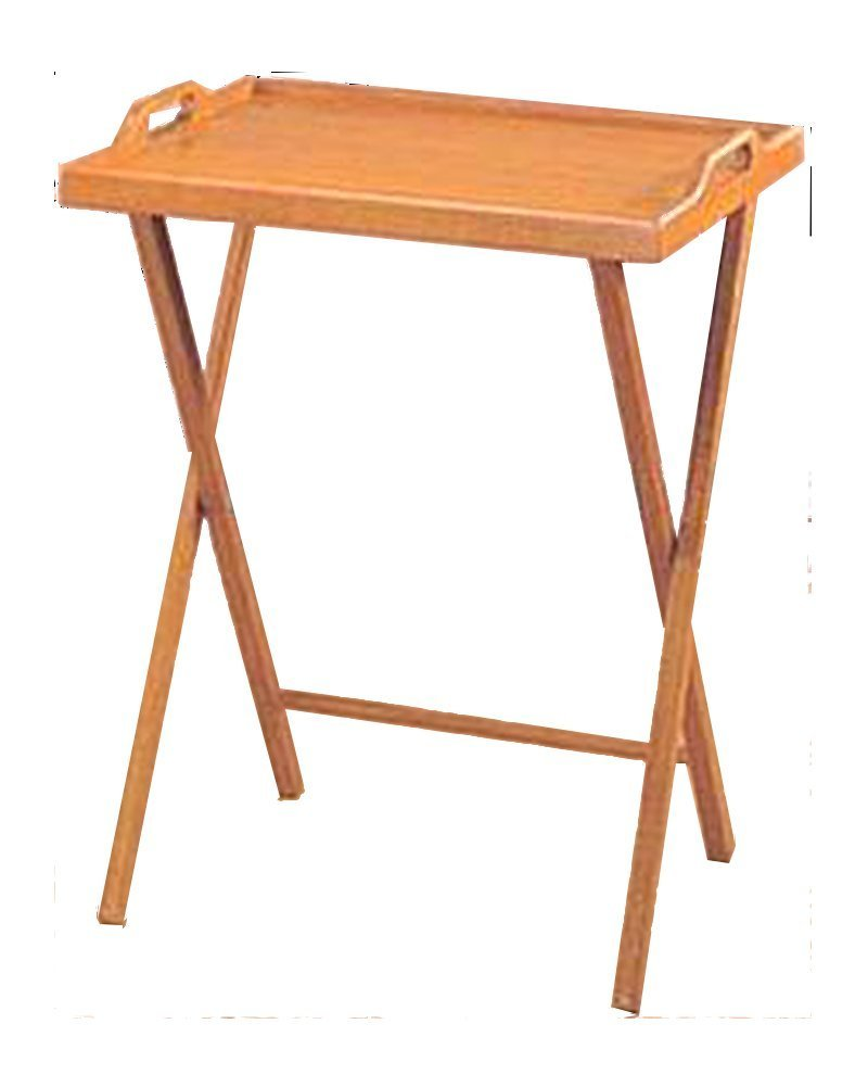 Essential Home Oak Finish Folding Tv Tray Table / Snack Drinking Portable Desk by non-retail packaging (Image #1)