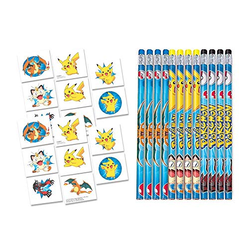 28 pc Pokemon Party Favor Set - Tattoos and Pencils -