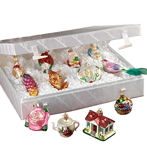 Set Bridal Ornament (Old World Christmas Merck Family's Bride's Tree Ornaments & Metal Display Tree)
