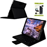 "iPad Pro 12.9 inch Keyboard Case,Genjia Folding Leather Stand Smart Shell Impact Resistance Back Cover Slim Durable Detachable Removable Wireless Bluetooth Keyboard for Apple iPad Pro 12.9"" (Black)"