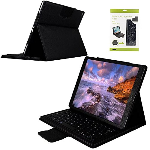"iPad Pro 12.9 inch Keyboard Case,Genjia Folding Leather Stand Smart Shell Impact Resistance Back Cover Slim Durable Detachable Removable Wireless Bluetooth Keyboard for Apple iPad Pro 12.9"" (Black) by Genjia"