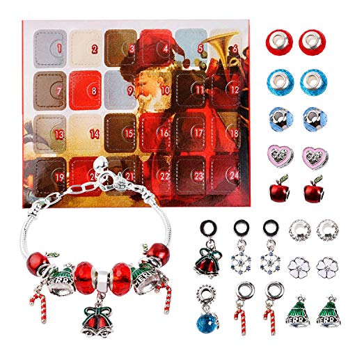 Advent Calendar DIY Bracelets Fashion Jewelry Set with 22 Charms 2018 Christams Countdown Calendar Gifts for Women Girls