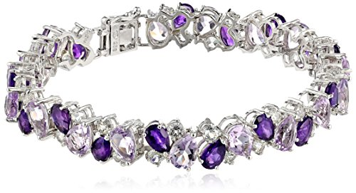 - Sterling Silver Genuine Amethyst and White Topaz Tonal Gemstone Bracelet, 7.25