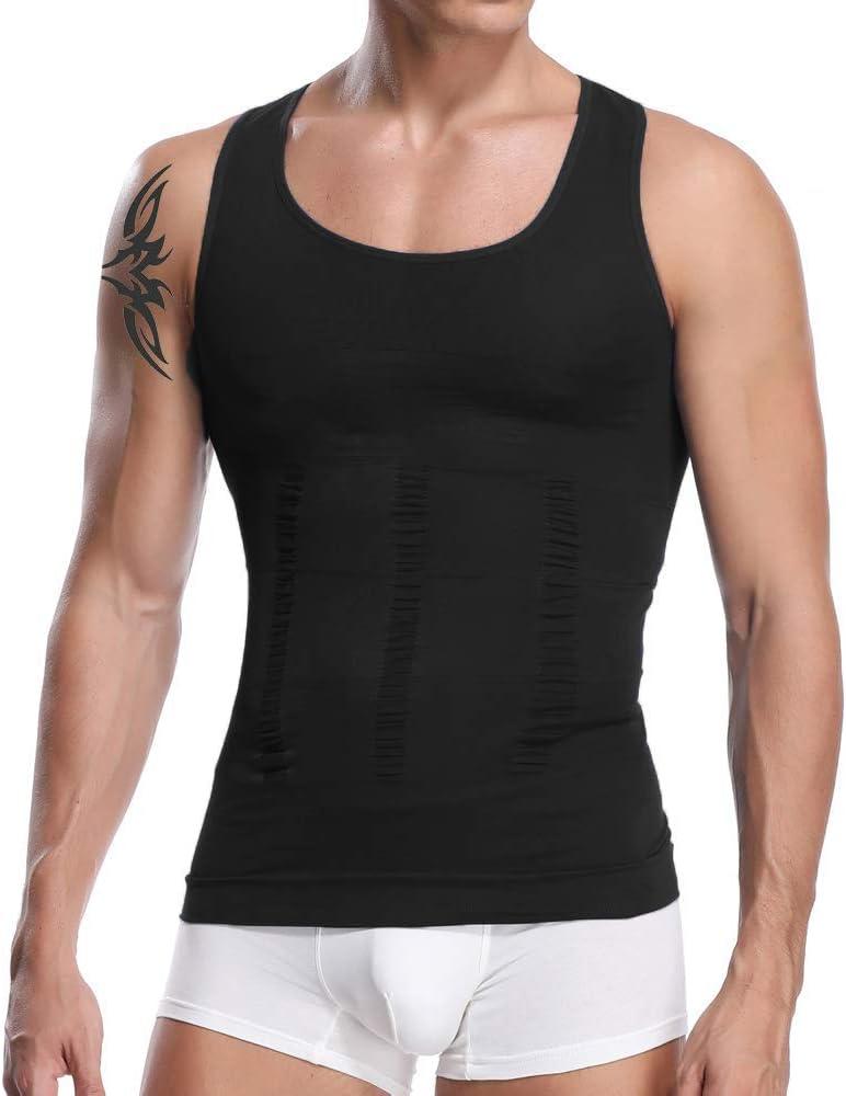 Slimming Compression Flat Chest Abdominal Shaper Firm Support Vest Shirt for Men
