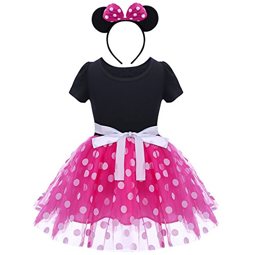 Baby Girls Polka Dots Tulle Spliced Ballet Dress with Bowknot Headband Birthday Party Princess Tutu Dress Hot Pink 2-3 Years -