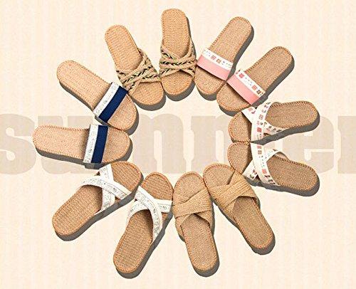 Spa-Pantoffeln Frauen Cozy Stoff Auf Pantoffel Braid Leinen Innen Pantoffel