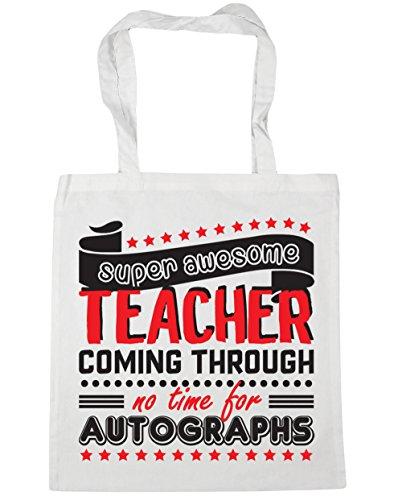 HippoWarehouse - Bolsa de playa con estampado «Super Awesome Teacher Coming Through No Time For Autographs»; 42cm x 38cm, 10litros blanco