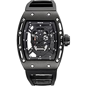 Skone Steampunk Skeleton Pirate Watch Men Skull Hollow Diamond Designer Cool Unique Fashion Style Quartz Wristwatch Silicone Leather Sports Christmas Gift