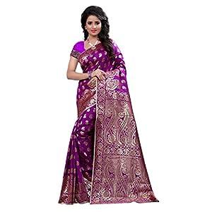 Shree Sanskruti Art Silk with Blouse Piece Saree (Banarasi 1001 Purple Free Size)