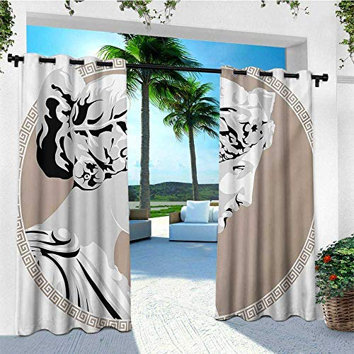 leinuoyi Toga Party, Outdoor Patio Curtains, Ancient Statue European Folk Beauty Muse Figure Divine Woman Picture Print, for Patio W84 x L108 Inch Pale Grey Tan]()