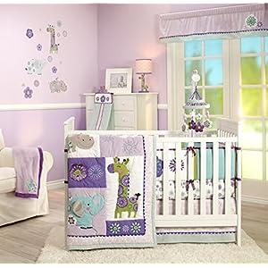 Carter's Zoo Jungle/Safari 4 Piece Crib Bumper, Floral/Lavender/Aqua/White