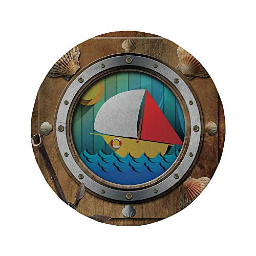 - Non-Slip Rubber Round Mouse Pad,Anchor,Metallic Porthole with Bolts Seashells Rusty Anchor and Boat Journey Voyage Activity,Multicolor,11.8