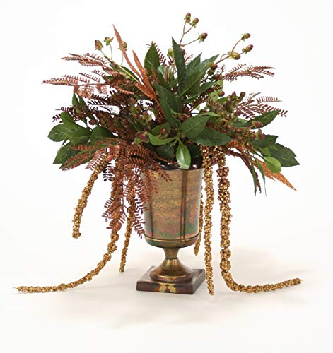 Distinctive Designs Copper Glittered Sprays Mixed with Greens and Hypericum Berries in Classic Urn