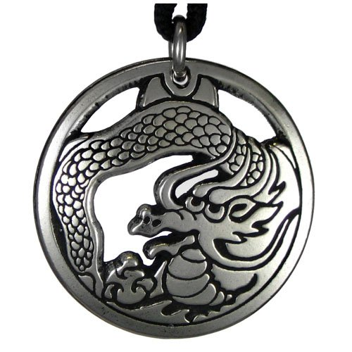 Pewter Chinese Eastern Dragon Pendant – Auspicious Fortune Necklace