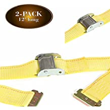 """2 E-Track Straps, 2"""" x 12' Cam Buckle Cargo Tie-Down Straps for ETrack Tie Down Systems in Trucks, Vans, Trailers, Pickups; Secure & Haul Loads w/ Durable Polyester Strap & Steel Cam, DC Cargo Mall"""