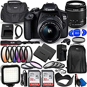 Best Epic Trends 51aU8f4V8LL._SS300_ Canon EOS 2000D (Rebel T7) DSLR Camera with EF-S 18-55mm f/3.5-5.6 DC III Lens - Deluxe Bundle Includes: Dual Ultra 32GB…