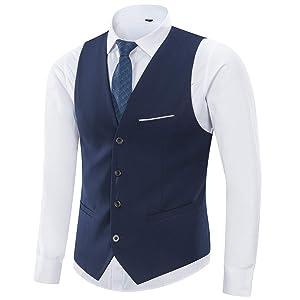 Yingqible メンズ ジレ スーツ ベスト ビジネス フォーマル チョッキ ウェストコート Vネック スリム 結婚式ベスト フィット 紳士 (M, ネイビー)