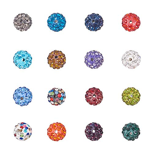 NBEADS 100 Pcs 12mm Random Mixed Color Polymer Clay Clear Gemstones Cubic Zirconia CZ Stones Pave Micro Setting Disco Ball Spacer Beads, Round Bracelet Connector Charms Beads for Jewelry Making ()