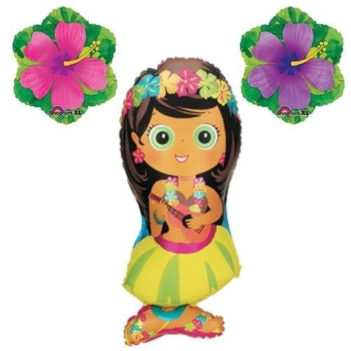 HULA GIRL LUAU BALLOONS hibiscus flower pool tropical birthday party supplies by Lgp