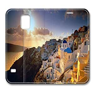 Leather Samsung Galaxy S5 Flip Case Cover, Cyclades Greece Samsung Galaxy S5 Full Body Protector Leather Flip Folio Case Cover, Original Design And Made By PhilipHayes