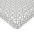 American Baby Company 100% Cotton Percale Fitted Portable/Mini-Crib Sheet, Gray Lattice