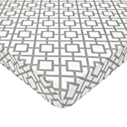 American Baby Company Fitted Portable/Mini Crib Sheet, 100% Cotton Percale, Gray Lattice