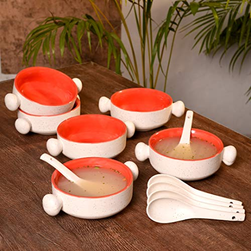 Unravel India Stoneware Matte Finish Jumbo Ceramic Soup Bowl with Round Handles Set of 6