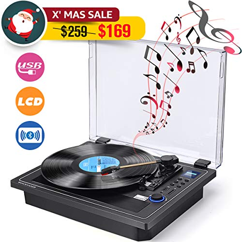 Record Player Turntable Bluetooth in & Out Record Player Built in Stereo Speakers Vinyl Records 3 Speed Turntable Player Support Vinyl-to-MP3 Recording USB SD (Multifunctional Record Player)