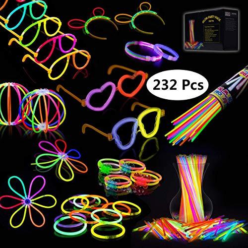 🥇 IREGRO Josechan Pulseras Luminosas 100pcs de Fiesta 20cm 7 Colores con Conectores para Hacer Glow Sticks Pulseras