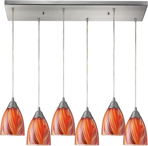 - Elk 416-6RC-M 30 by 9-Inch Arco Baleno 6-Light Pendant with Multicolor Glass Shade, Satin Nickel Finish