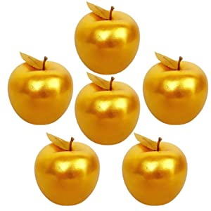 Lorigun 6 Pcs Golden Apples Golden Fruit Crafts Home Decoration Christmas Decor
