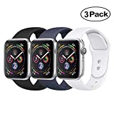 BicasLove Compatible for Apple Watch Band 42mm Silicone Replacement Sport Strap Compatible for iWatch Bands Women Men M/L 3 Pack E