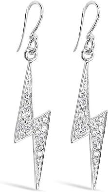 Amazon Com 925 Solid Sterling Silver Cubic Zirconia Lighting Bolt Dangling Earrings Dangle Hypoallergenic Jewelry Jewelry