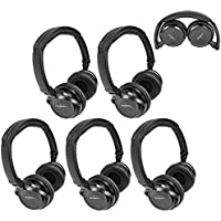 Five Pack of Two Channel Fold Flat Adjustable Child-Adult Size Universal Rear Entertainment System Infrared Headphones Wireless IR DVD Player Head Phones for in Car TV Video Audio Listening