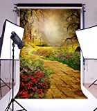 5x7ft Lfeey Thin Backdrop Photography Background Mysterious Old Castle Theme,1.5(W)x2.2(H)m Photo Studio Props