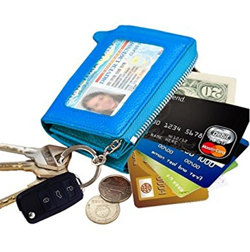 Detachable Id Window - Edmen Zipper Key Wallet Leather Credit Card Case Coins Purse with ID Window for Women Men( Blue)