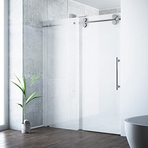 VIGO VG6041CHMT6074R 56 60 Inch Right Sliding Frameless Shower Door with 3 8 Frosted Glass and 304 Stainless Steel Hardware, in Chrome Finish