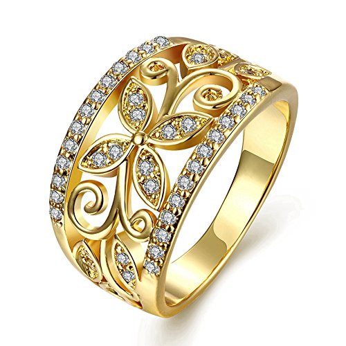 Zarbrina Womens Fashion Rose Gold Plated Cubic Zirconia Wedding Band Flower Engagement Promise Ring