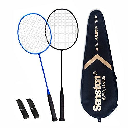 Senston S-200 Matte Badminton Racket Set Graphite Badminton Rackets (Black Blue) Full Carbon Badminton Racquet Set with Racket Cover