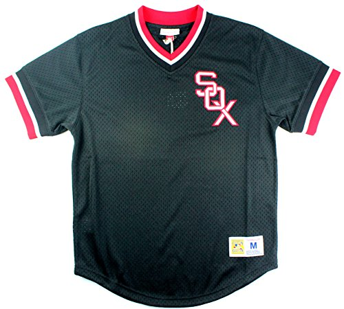 Chicago White Sox Mitchell & Ness Men's Mesh V-Neck Jersey Black (Large)