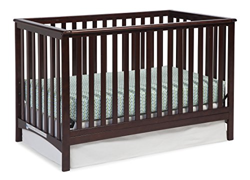 Storkcraft Hillcrest Fixed Side Convertible Crib, Espresso, Easily Converts to Toddler Bed Day Bed or Full Bed, Adjustable Height Mattress, Some Assembly Required Mattress Not Included